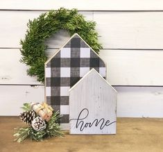Reversible buffalo check houses home sweet home lets stay Scrap Wood Crafts, Scrap Wood Projects, Craft Projects, Painted Wood Crafts, Craft Ideas, Wooden Crafts, House Projects, Decorating Ideas, Christmas Crafts