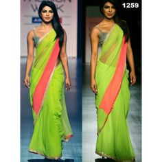 Priyanka Saree Priyanka Lemon Beauty Chiffon Saree Bollywood Sarees