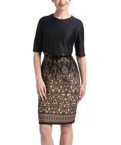 Look at this #zulilyfind! Black & Camel Belted A-Line Dress by Jemma Apparel #zulilyfinds