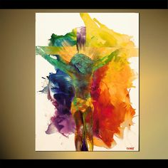 Figure Painting ORIGINAL Abstract Religious Art On Canvas JESUS Painting Fine…