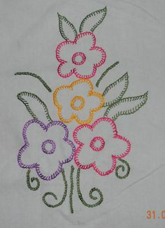 Simple Embroidery Designs Tutorial into Embroidery Floss London into Simple Embroidery Designs For Blouse Sleeves Hand Stitch Embroidery Patterns, Chain Stitch Embroidery, Embroidery Flowers Pattern, Simple Embroidery, Embroidery Transfers, Crewel Embroidery, Silk Ribbon Embroidery, Machine Embroidery, Embroidery Monogram