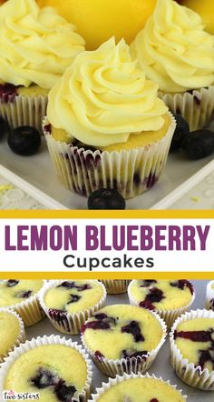 Lemon Blueberry Cupcakes - this yummy lemon dessert is easy and delicious. Lemons and Blueberries - a classic union of tart fruit flavor combined in one light and yummy Easter cupcake recipe. Smores Dessert, Dessert Dips, Mini Desserts, Just Desserts, Easy Lemon Desserts, Lemon Recipes, Lemon Blueberry Cupcakes, Desserts Ostern, Frosting Recipes