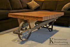 Wheelbarrow Coffee Table with 1890s Bowling lane coffee top. Reclaimed Furniture. | K International Woodworking