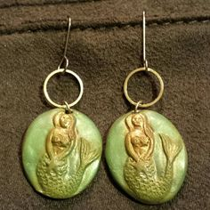 Very Pretty Green & Silver Mermaid Earrings Lovely drop earrings with sterling hooks and green and gold mermaids. Unknown  Jewelry Earrings