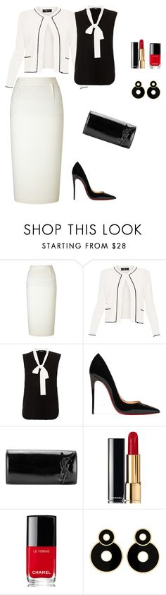 """Untitled #561"" by ladyasdis ❤ liked on Polyvore featuring Roland Mouret, Paule Ka, Christian Louboutin, Yves Saint Laurent and Chanel"