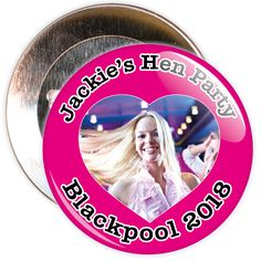 A customisable hen night badge with pink background and heart photo. These hen party badges are customised with a photo, the name of the hen and a location.