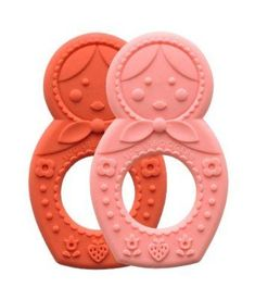 Sugarbooger Silicone Teether, Matryoshka Doll, 2 Count