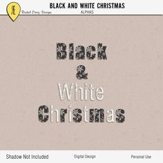 Black And White Christmas - Digital Scrapbooking Alphas by Racheletrogdesigns on Etsy