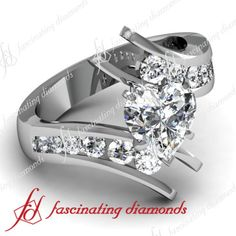 Open Swirl Style Channel Set Engagement Ring 1.4 Ct Heart Shaped Diamond SI2-F