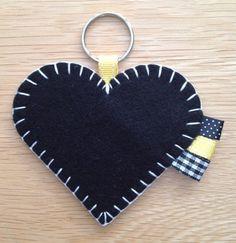 Black & Yellow Felt Heart Keyring Bag Charm