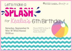 Little Girl Water Party Invitation Printable by INKHdesigns