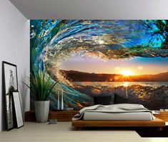 Picture Sensations Canvas Texture Wall Mural, Seascape Sunset Sea Ocean Wave, Self-Adhesive Vinyl Wallpaper, Peel & Stick Fabric Wall Decal - Large Wall Murals, Wall Stickers Murals, Wall Decals, Wall Art, 3d Wall Murals, Vinyl Wallpaper, Adhesive Wallpaper, Wallpaper Murals, Bedroom Wallpaper