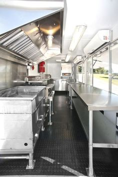 The interior view of the Doughworks food truck from back to front.: