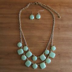 Mint & Gold Necklace & Earring Set ??OBO?? In good condition, earrings are about the size of a dime  CLOSET CLEAR OUT! Taking all offers as long as they are made using the button! Also bundling for a bargain with 20% off 2 or more! Jewelry Necklaces