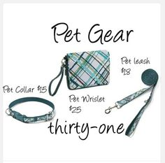 Thirty One Pet Gear.  Collar, Leash & Pet Wristlet that can turn into a water or food bowl. Interested in these great products for your pets contact me @ Mythirtyone.com/413002 or miyo36@yahoo.com thanks Katherine