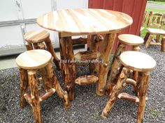 Aspen Log Pub Table Set Old Farm Amish Furniture - Dayton, PA (814) 257-8911 oldfarmfurniture@aol.com Visit our Facebook Page
