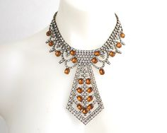 Spectacular vintage rhinestone bib necklace in Art Deco style, clear and amber…