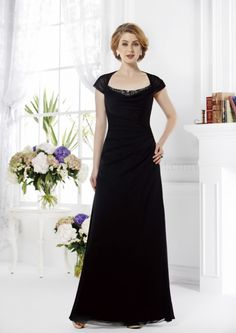 2015 Chiffon Black Short Sleeves Floor Length Zipper Mother of the Bride Dresses Jade MBD165011