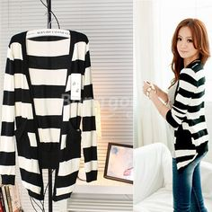 Girls's Black and White Cardigan Long Sleeve Stripped Sweaters  US$9.50