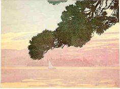 Walter J. Phillips(Canadian, 1884-1963) Sunset, Lake of the Woods  1919 colour woodcut on paper