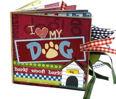 Love My Dog Scrapbook  Paper Bag Album by apicketfencelife on Etsy, $26.00