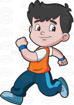 A boy running confidently