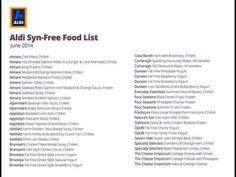 Slimming World - Aldi Syn-Free Food List
