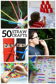 50 creative straw crafts projects for kids, diy for kids, kids fun, cra Craft Projects For Kids, Crafts For Kids To Make, Diy Crafts For Kids, Crafts To Sell, Activities For Kids, Kids Diy, Fun Crafts, Art Projects, Crafty Kids