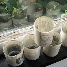 Book, Library, Literary wedding - Table centerpiece, Votive Holders wrapped in book pages