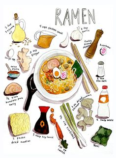 Cute Food, Good Food, Yummy Food, Ramen Recipes, Cooking Recipes, Recipe Drawing, Food Drawing, Food Illustrations, Aesthetic Food