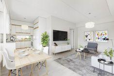 Moderni asumisoikeusasunto sai ihanasti rustiikkista sisältöä krouvista lankkupöydästä. Decor, Table, Furniture, Home Decor, Dining, Dining Table