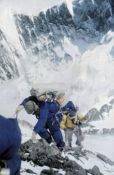 Norgay (left) and Hillary climbing to camp IV, Mt. Everest, 27 May 1953