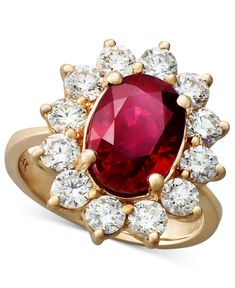 Rosa by EFFY Ruby (3-3/4 ct. t.w.) and Diamond (1-3/4 ct. t.w.) Oval Ring in 14k Rose Gold - Rings - Jewelry & Watches - Macy's
