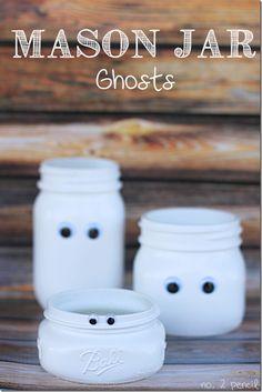 Halloween Crafts with Mason Jars: Mason Jar Ghosts