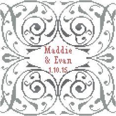 Modern Wedding Cross Stitch Pattern/Swirl Border Cross Stitch Pattern/Wedding Cross Stitch Pattern/Love Cross Stitch/Anniversary Xstitch by oneofakindbabydesign on Etsy
