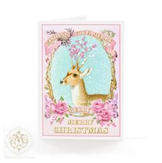 Pink, deer, Christmas card, antlers decorated with pink berries, holiday card, with pink roses, snow, merry Christmas, reindeer card