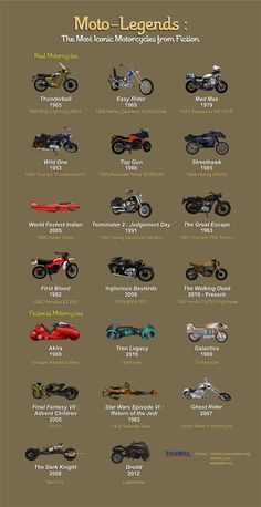 Moto-legends: the Most Iconic Motorcycles from Fiction #infographic #infografía