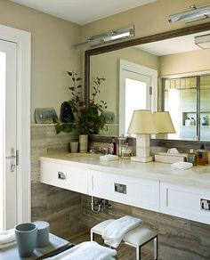 Steven Gambrel bathroom - Dorchester picture lights floating vanity campaign style hardware - for daughter's ADA bath?