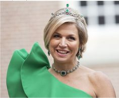 Queen Maxima of the Netherlands wearing Emeralds at a state dinner for Prince Albert ll of Monaco...