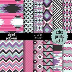 digital paper pack  aztec prints set 3 12 by digitalpotpourri, $3.50