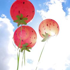 Make these easy and festive DIY Strawberry Balloons for your next party or get together!