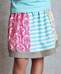Look what I found on #zulily! Teal & Pink Patchwork Skirt - Infant, Toddler & Girls #zulilyfinds