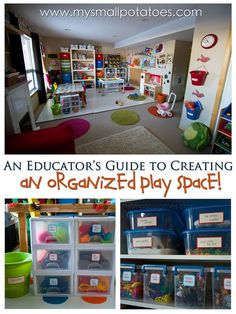 An amazing play space over at Small Potatoes - I love all these tips and ideas for organizing toys and resources. An amazing play space over at Small Potatoes - I love all these tips and ideas for organizing toys and resources. Daycare Organization, Organizing Toys, Daycare Setup, Daycare Ideas, Organizing Ideas, Storage Organization, Play Spaces, Kid Spaces, Play Areas