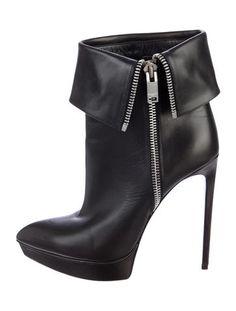 Saint Laurent Leather Platform Booties
