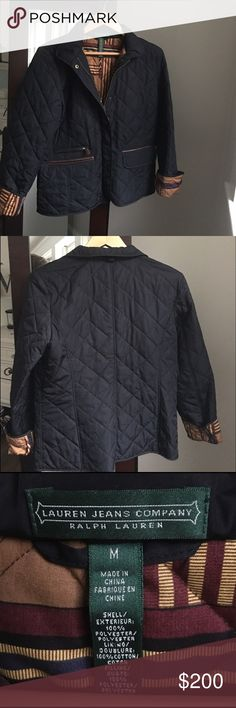Stunning Ralph Lauren Quilted Jacked RARE Black quilted jacket with faux brown leather trim by Ralph Lauren. Classic Lauren design fabric lining. Zip & snap front. Snap cuffs that also roll up to reveal the gorgeous Lauren lining. Faux leather trim front pockets. One zip pocket. Size Medium. Impeccably NWOT!! Ralph Lauren Jackets & Coats Puffers