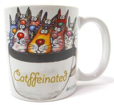 "Cat mug Catffeinated 12 0z 3¾"" Kevin Whitlark On a Lark #OnaLark"