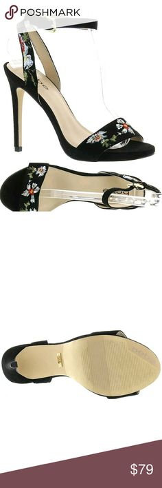 "New Bebe Ingram Women's Sandal Bebe Ingram Women's Sandal  Brand  Bebe  Style Women's Dress Sandal  Condition  New  Material  Leather  Heel Height  4 1/2  Product Features   Grace your royal subjects with a glimpse of this stunning dress sandal Suede leather upper with fab floral embroidery Adjustable buckled ankle strap Lightly cushioned footbed 4-1/2"" spike heel bebe Shoes Heels #anklestrapsheelswithdress"