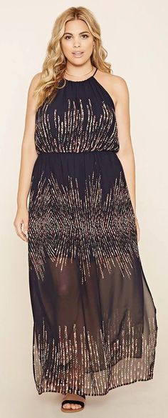 Plus Size Abstract Maxi Dress