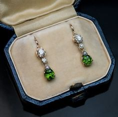 Rare Antique Russian Demantoid Diamond Pearl Gold Earrings -1908
