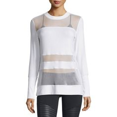 Alo Yoga Plank Mesh-Panel Long-Sleeve Top (1,620 THB) ❤ liked on Polyvore featuring tops, white, crew top, sweater pullover, stripe top, long sleeve tops and white pullover
